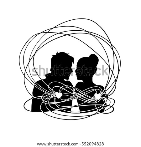 Loving couple with connected hearts. Black sketch silhouette illustration isolated on white background. For wedding and Valentine day cards and invitations.