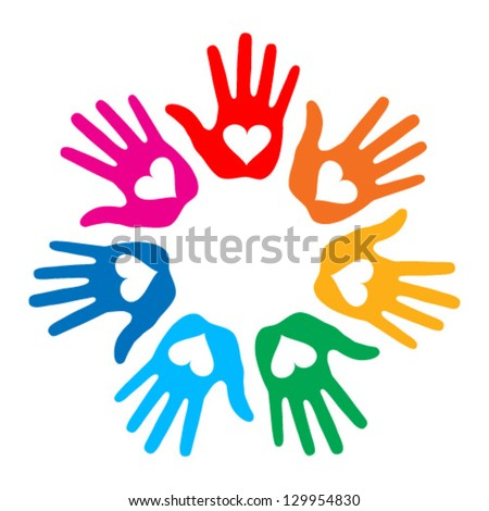 Loving Hand Print icon 7 colors, vector illustration - stock vector