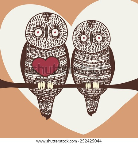 loving owls - stock vector