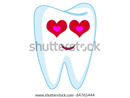 Loving Tooth Cartoon Character Illustration in Vector - stock vector