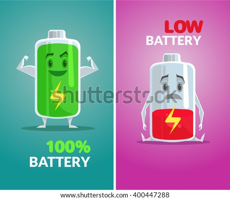 Low battery and full battery. Vector flat illustration - stock vector