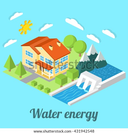 Low-energy house with Hydro power plant. For web design, mobile and application interface, also useful for infographics. Isometric Passive House concept. Vector illustration. - stock vector