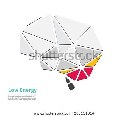 low energy, low power of brain. vector illustration - stock vector