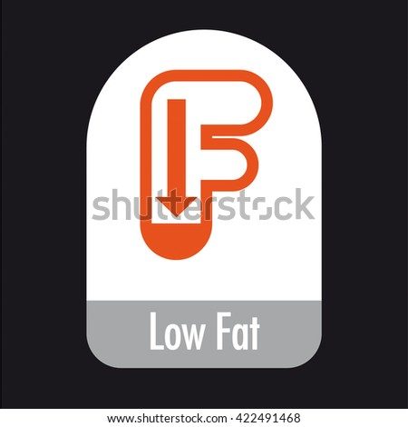 Low Fat health food packaging icon / logo / symbol for front of pack or back of pack, vector graphic illustration