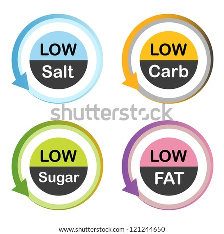 Low fat, salt, carb, sugar food labels. - stock vector