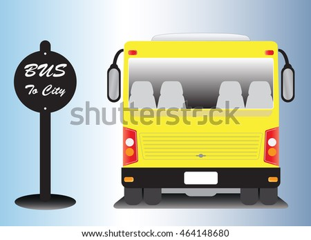 low floor city bus at bus stop