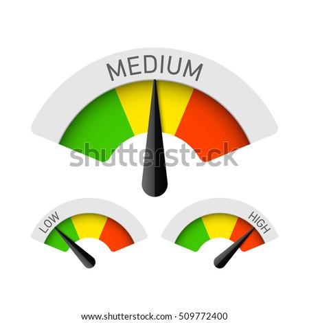 Low Medium High Gauges Vector Illustration 509772400