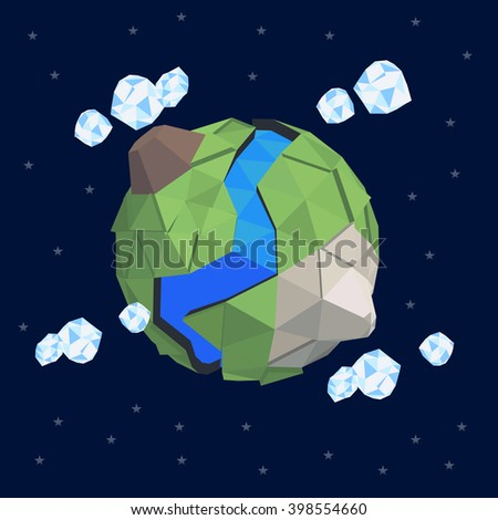 Low poly abstract geometry planet. Greenhouse effect. Ecology friendly planet. Safe secret little world. Small baby planet terrain. Abstract geometry landscape. Perfect planet. Earth day save the planet - stock vector