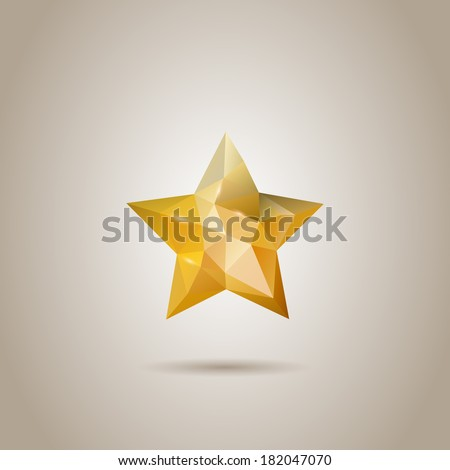 Low-poly Abstract Polygonal Star - stock vector