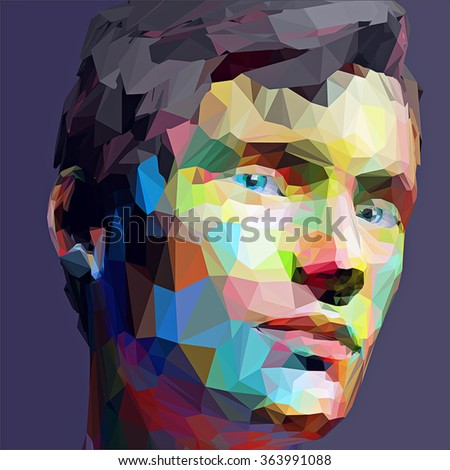 Low poly abstract portrait man. Vector Illustration in low poly style, stylized design element  for banner, poster, flyer, cover, brochure. - stock vector
