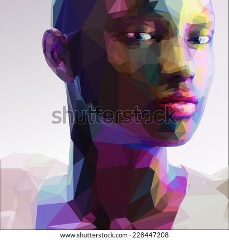 Low poly abstract portrait of a black girl - stock vector