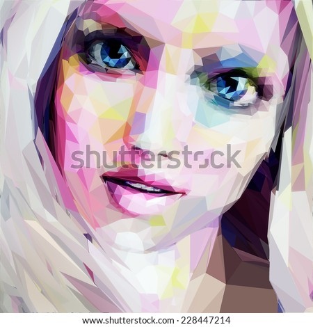 Low poly abstract portrait of the blonde with blue eyes - stock vector