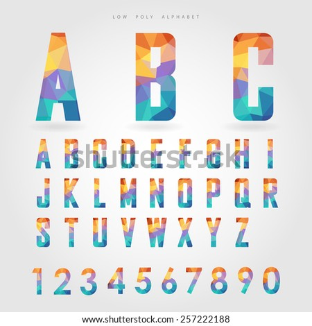 low poly alphabet and number on polygon concept vector - stock vector