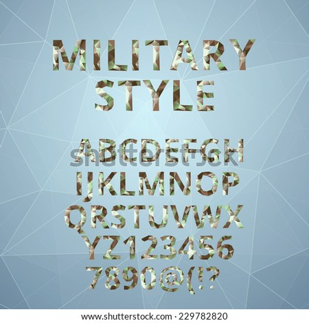 Low poly alphabet font. EPS10 vector - stock vector