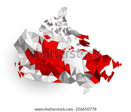 Low poly Canada map on a waving flag - stock vector