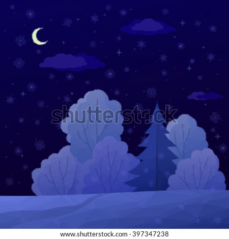 Low Poly Christmas Landscape, Night Winter Forest with Coniferous and Deciduous Trees and Snow. Vector