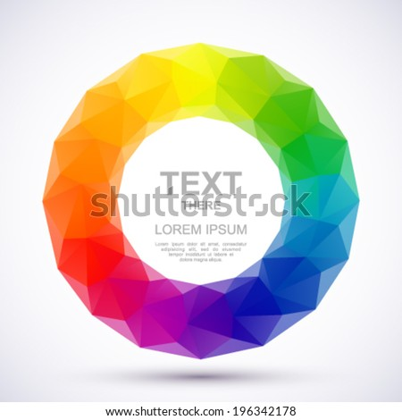 Low-poly color wheel. - stock vector