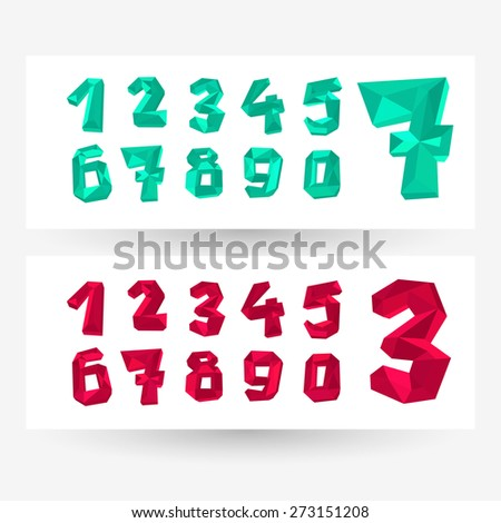 Low poly crystal numbers set, geometric vector typography.  - stock vector