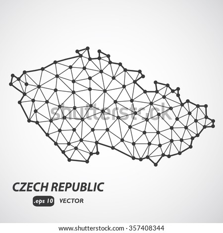 Low Poly Czech Republic Map - stylized infographic molecular concept - Vector Illustration - stock vector