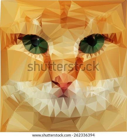 Low poly design. cat. eps 10 - stock vector