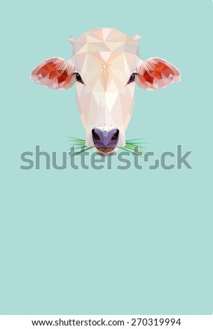 low poly design cow illustration  - stock vector