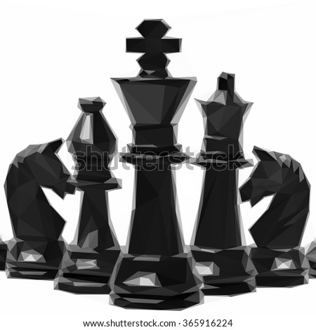 Low poly design of black chess figures isolated on white background - stock vector