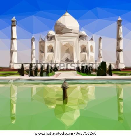 Low poly design of Taj Mahal, India - stock vector