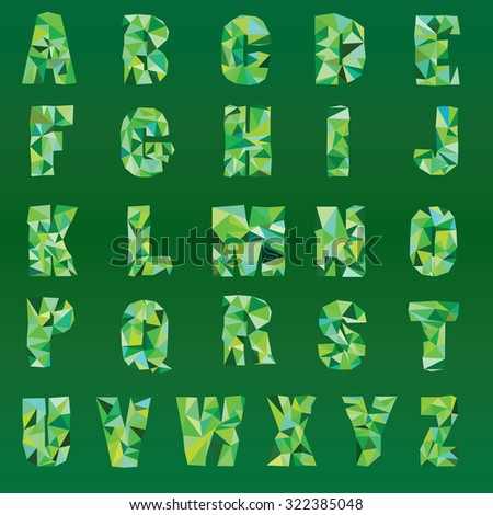 Low poly emerald alphabet. Low poly font on polygon concept vector.  - stock vector