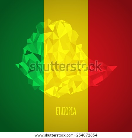 Low Poly Ethiopia with National Colors - Infographic - Vector Illustration - stock vector