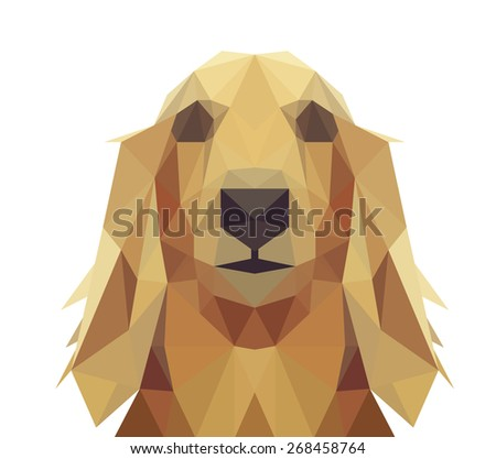 Low Poly Geometric Dog Design - Long Hair Dachshund, Golden Retriever or Saluki  - stock vector