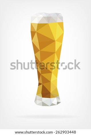 Low Poly Glass of Beer - stock vector