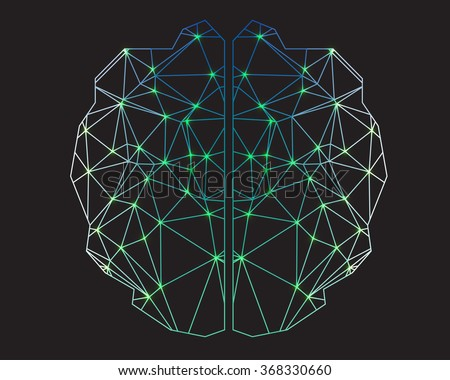 Low Poly graphic design vector of the anatomical shape of the brain. - stock vector