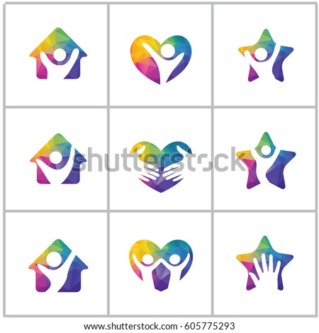 low poly happy home logo designs happy family health and care icons low - Home Health Logo Design