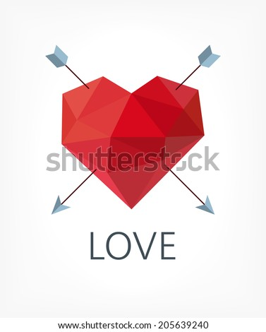 Low poly heart symbol for love - stock vector