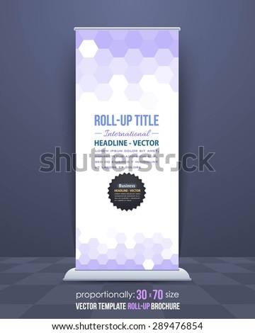 Low Poly Hexagon Elements Style Roll-Up Banner, Advertising Vector Background Design - stock vector
