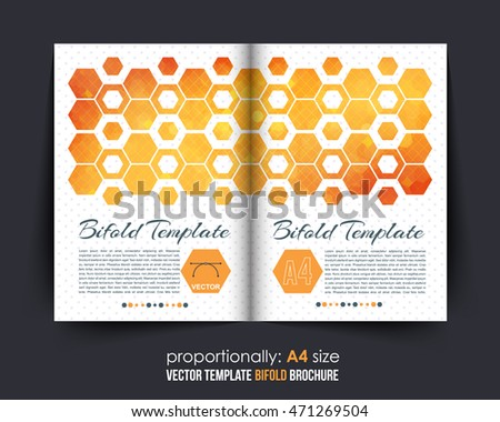 Low Poly Hexagon Frames Bi-Fold Aquare Brochure Design. Corporate Leaflet, Cover Template