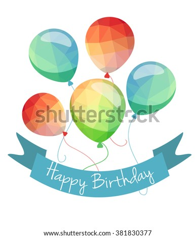 Low Poly holiday balloons greeting card. Red blue and green vector balloons