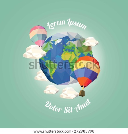 Low poly hot air balloon near earth with clouds. vector illustration - stock vector