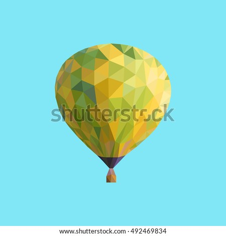 Low poly image of balloon flying through the sky. Vector image.