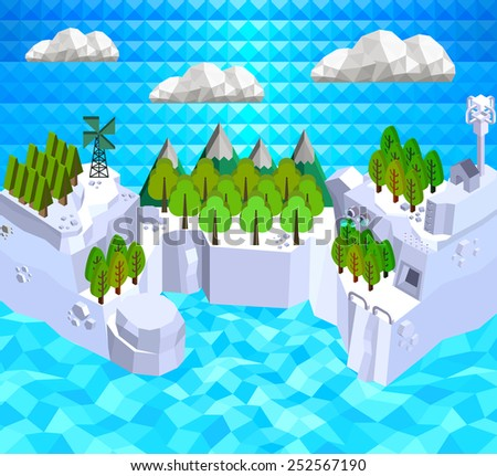 Low poly islands  for eco, Ecology Concept in polygon style, Vector illustration - stock vector