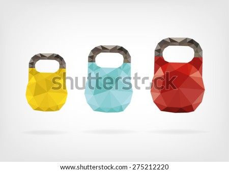 Low Poly Kettlebell - stock vector