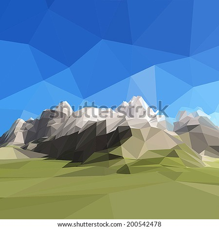 low poly  landscape. Mountains and blue sky. - stock vector