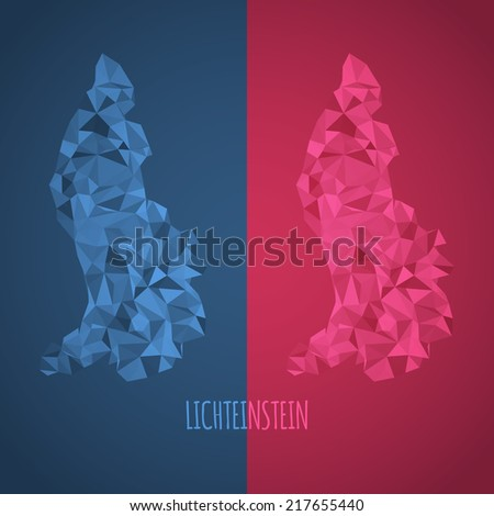 Low Poly Lichteinstein Map with National Colors - Infographic - Vector Illustration - stock vector