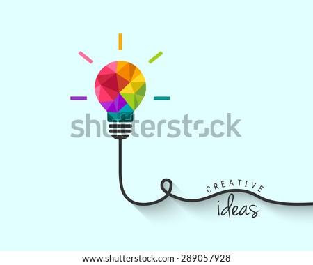 Low poly lightbulb as creative idea concept - stock vector