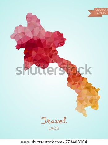Low Poly map od Laos isolated. Vector version - stock vector
