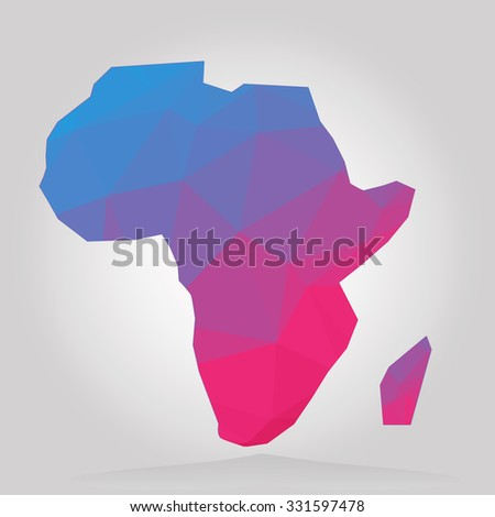 Low poly map of Africa - stock vector