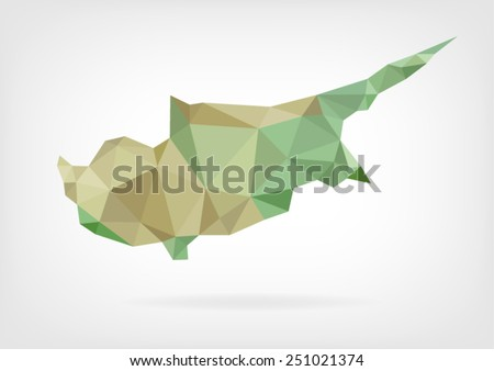 Low Poly map of Cyprus - stock vector