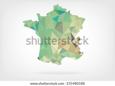Low Poly Map of France - stock vector