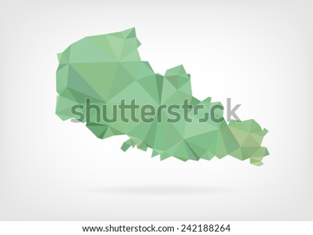 Low Poly map of french region Nord - Pas de Calais - stock vector