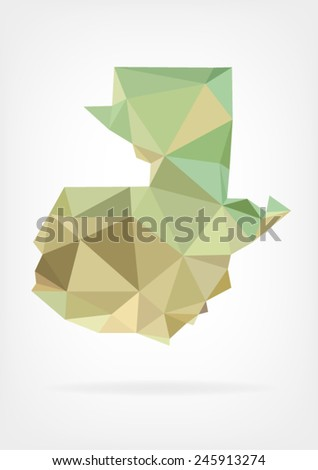 Low Poly map of Guatemala - stock vector